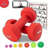 POWRX Neopren Hanteln Gewichte für Gymnastik Kurzhanteln 0,5 kg - 5 kg oder Set komplett (2 x 3 kg)