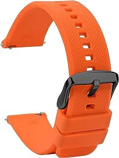 TStrap Montres Bracelets Silicone 20mm - Remplacement Bracelet de Montre Étanche à Dégagement Rapide en Caoutchouc Noir - ...