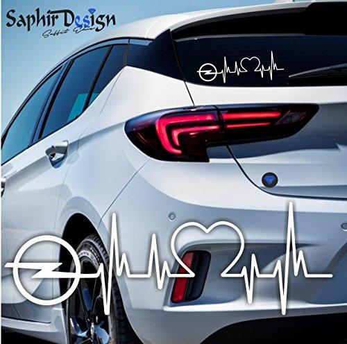 Saphir Design Opel Herzschlag - Autoaufkleber - A177 / 18 x 6 cm Hochleistungsfolie in der Farbe Weiss
