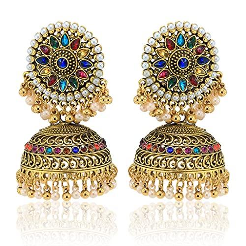 PHILSP Pendientes vintage Bollywood Gypsy chapados en oro Boho Bell tradicionales Jhumka Jhumki, para mujeres y niñas
