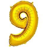DekoRex número Globo decoración cumpleaños Brillante para Aire en Oro 40cm de Alto No. 9