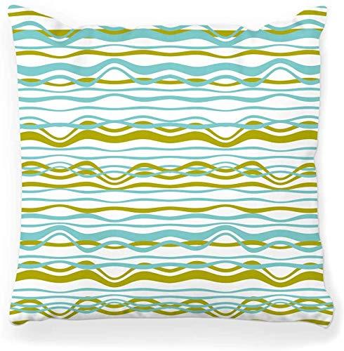 Funda de Almohada Decorativa Cuadrada 16x16 Rayas abstractas del océano Patrón de Onda del mar Playa Playa Bordes Azules Pinceladas Pinceles curvos Decoración del hogar Cremallera Funda de Almohada