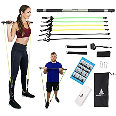 Spirited Namaste - Portable Pilates/Yoga Body Bar & Stick Home Toning Workout Kit with 3 Resistance Bands kit: Accessories, Suspension Exercise Workout Bands Trainer with Foot Strap (Gray)
