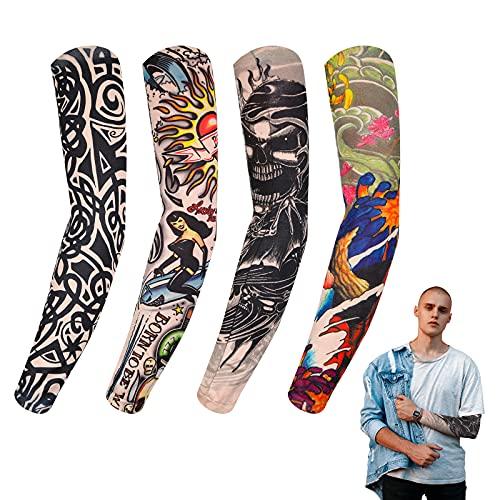 4 Mangas Falsas de Tatuajes Temporales de Nailon Elstico, Mangas de Brazo de Tatuaje, Mangas de Proteccin Solar de Brazos Accesorios de Deslizamiento de Medias de Tatuaje de Halloween