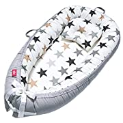 EIH Baby Nest,Baby Lounger Co-Sleeping Baby Bassinet for Bed Newborn Lounger 100% Soft Cotton Breathable and Portable Crib with Pillow Perfect for Traveling and Napping (Star)