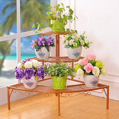 CKH De Style européen à Plusieurs étages en Fer forgé en Fer forgé Wall Ladder Flower Pots Balcon Fleur Vert Fleur étagère A Salon Balcon Flower étagère (Color : Gold)