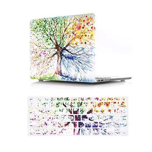 HRH 2 in 1 Watercolor Art Four Seasons Tree Laptop Body Shell Protective Hard Case Cover Silicone Keyboard Cover for MacBook Old Pro 13'Inch WITH CD-ROM Drive (A1278),Release 2012/2011/2010/2009/2008