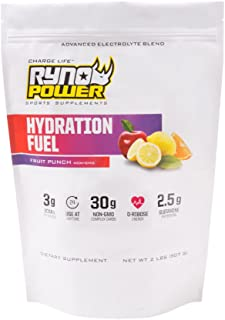 Ryno Power Hydration Fuel - Advanced Electrolyte Formula + BCAA's - Gluten Free - Sustained Energy and Muscle Recovery - (Fruit Punch)