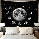 N / A Star Moon Tapestry Colgante de Pared Tarot Card Poliéster Lion Moon Pattern Manta Tapiz Decoración para el hogar Astrología Colcha Playa Mat D34 150x200cm