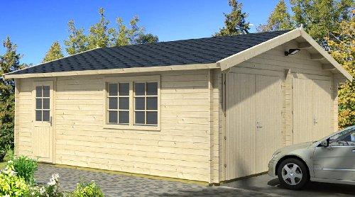 Preisvergleich Produktbild Blockhausgarage D01 - 595x530 cm - 40mm - Carport Gartenhaus - Inkl. Verglasung - Blockhaus-Garage