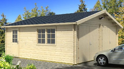 *Blockhausgarage D01 – 595×530 cm – 40mm – Carport Gartenhaus – Inkl. Verglasung – Blockhaus-Garage*