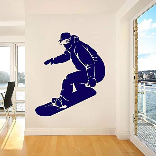 Tianpengyuanshuai Snowboard Sport Wandaufkleber Winter Schnee Fenster Vinyl Aufkleber für Zuhause, Raum Sofa Hintergrund Art Deco Wandbild Tapete-75x63cm