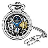 Stuhrling Orignal Mens Pocket Watch Automatic Watch Skeleton Watches for Men- Mechanical Watch with and Stainless Steel Chain -Dual Time AM/PM Sun Moon Subdial