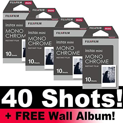 Fujifilm Instax Monochrom-Fotofilm für Sofortbilder, für 40 Aufnahmen, inkl. Wandfotoalbum