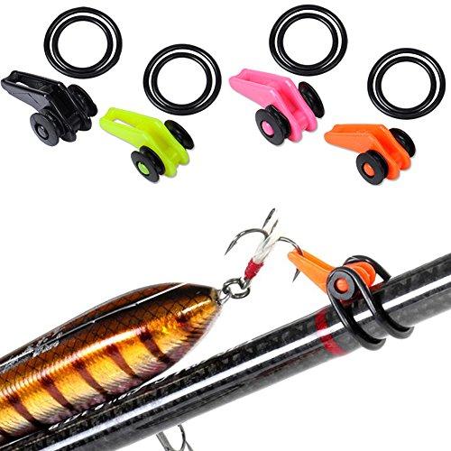 UxradG anzuelo de cebo de pesca Ganchos de plástico para caña de pescar con soporte ajustable, accesorios de pesca de señuelo colorido con anillo de goma (amarillo)