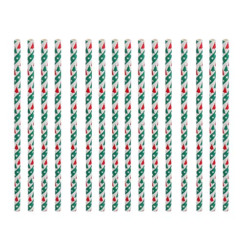 HEMOTON 50 Pezzi di Carta a Pois Verdi cannucce di Natale per Feste Festival Paper Suckers