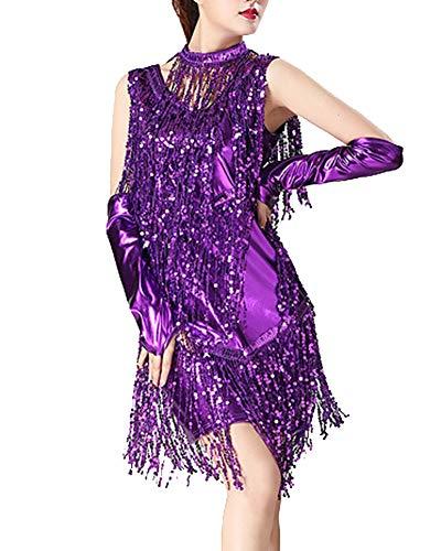 Damen Quaste Pailletten Latin Dance Kleid Ballroom Salsa Samba Tango Latein Wettbewerb Cocktailkleid + Handschuh + Halskette Lila M