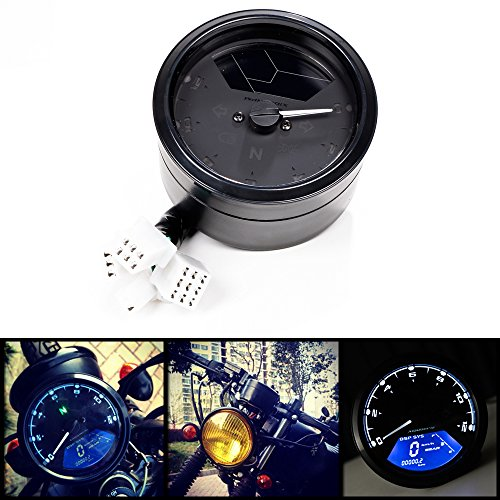 All-in-one 12000 rpm MPH Blue LED Backlight Digital Signal LCD Odometer Speedometer Tachometer 199 kmh Compatible with Motorcycle Custom Cruiser Cafà Racer