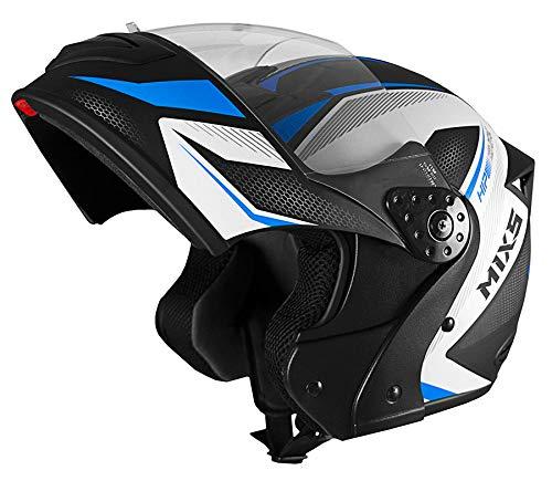 Capacete Mixs Gladiator Neo Brilhante Escamoteavel Articulado Robocop preto com azul 60