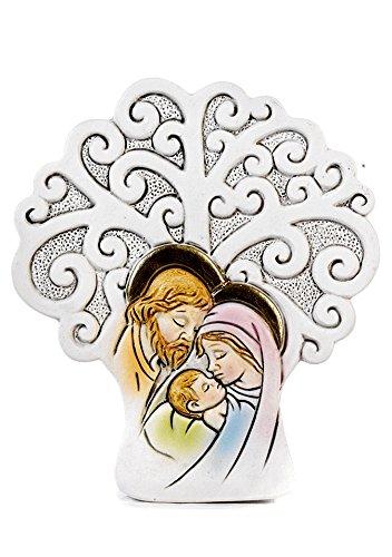 12 pz Bomboniera Albero della Vita con Sacra Famiglia cm. 7,3 Comunione Cresima Battesimo in Resina by Mandorle