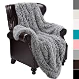 junovo Super Soft Shaggy Longfur with Sherpa Reversible Warm Throw Blanket, Grey Large Twin Size Fuzzy Fur Blanket for Men, Hypoallergenic and Washable Couch Bed Furry Throws Photo Props, 60x80