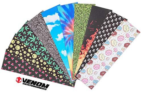 Venom Skateboards hochwertiges Skateboard-Griptape, 22,9 x 83,8 cm, mit Grafik bedruckte Bögen, Grasgrün