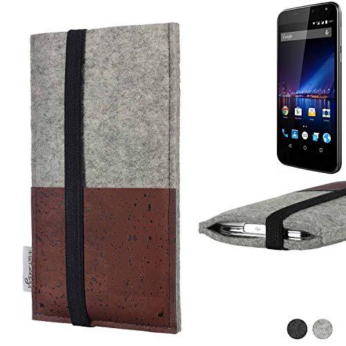flat.design Handy Hülle Sintra kompatibel mit Phicomm Energy 3+ Handytasche Filz Tasche Schutz Kartenfach Hülle braun Kork