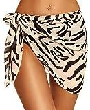 Women Sarong Swimsuit Cover ups Short Beach Wrap Sheer Bikini Chiffon Swimwear Bathing Scarf(Zebra,M)