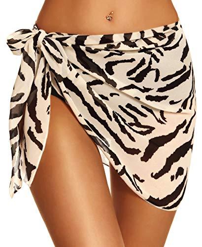 Women Sarong Swimsuit Cover ups Short Beach Wrap Sheer Bikini Chiffon Swimwear Bathing Scarf(Zebra,S)