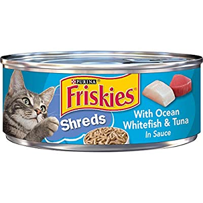 Purina Friskies Wet Cat Food, Shreds With Ocean Whitefish & Tuna in Sauce - 5.5 oz. Cans (Pack of 24)