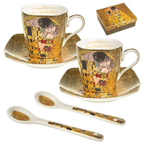 Queen Isabell - Juego de tazas de café (porcelana, para dos personas, con platillos y cuchara), diseño del beso Klimt