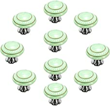 CSKB Green 10PCS Retro Simple Style Round Ceramic Door Knob Handle Pull Knobs Door Cupboard Locker for Drawer,Cabinet,Chest, Bin, Dresser, Bathroom,Cupboard, Etc with Screws