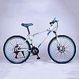 YXWJ 24/26 Pulgadas Bicicletas de montaña de los Hombres de Tiro Rígidas Montaña de Seguridad for Bicicleta de Adulto Las señoras Velocidad Alta de Acero al Carbono Rígidas Montaña Azul Bik
