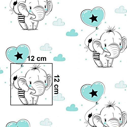 Pingianer 11,99€/m Elefant 100% Baumwolle Baumwollstoff Kinder Meterware Handwerken Nähen Stoff (Elefant Luftballon Blau, 100x160cm (11,99€/m))
