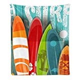 CUXWEOT Custom Super Soft Throw Blanket Fleece Blanket for Couch Sofa Bed Gift Colorful Vintage Surfboard (50inchX60inch)
