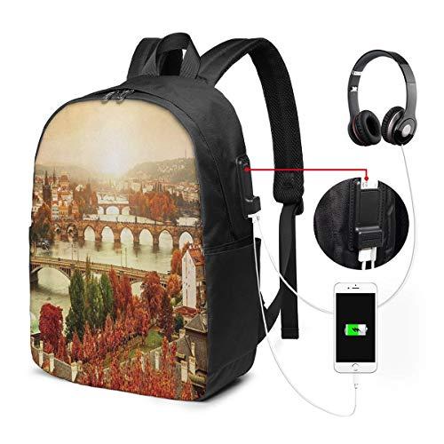 WEQDUJG Mochila Portatil 17' Pulgadas Mochila Hombre Mujer con Puerto USB, Wanderlust 14 Mochila para El Laptop para Ordenador del Trabajo Viaje