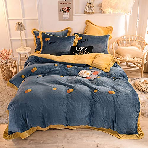 MNBVC 4 Piece Bed Sheet Set Double,Duvet Sets Double Bed Thickened Velvet4 Piece Bedding Set Coral Fleece Flannel