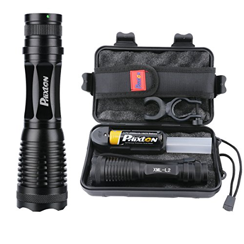 LED Tactical Flashlight High Lumens Phixton Rechargeable 5000mAh 18650 Battery Charger Gift Case Kit 1200lm L2 Adjustable Handheld Light 5-Mode Water-resistant Flash Torch For Indoor Outdoor Emergency