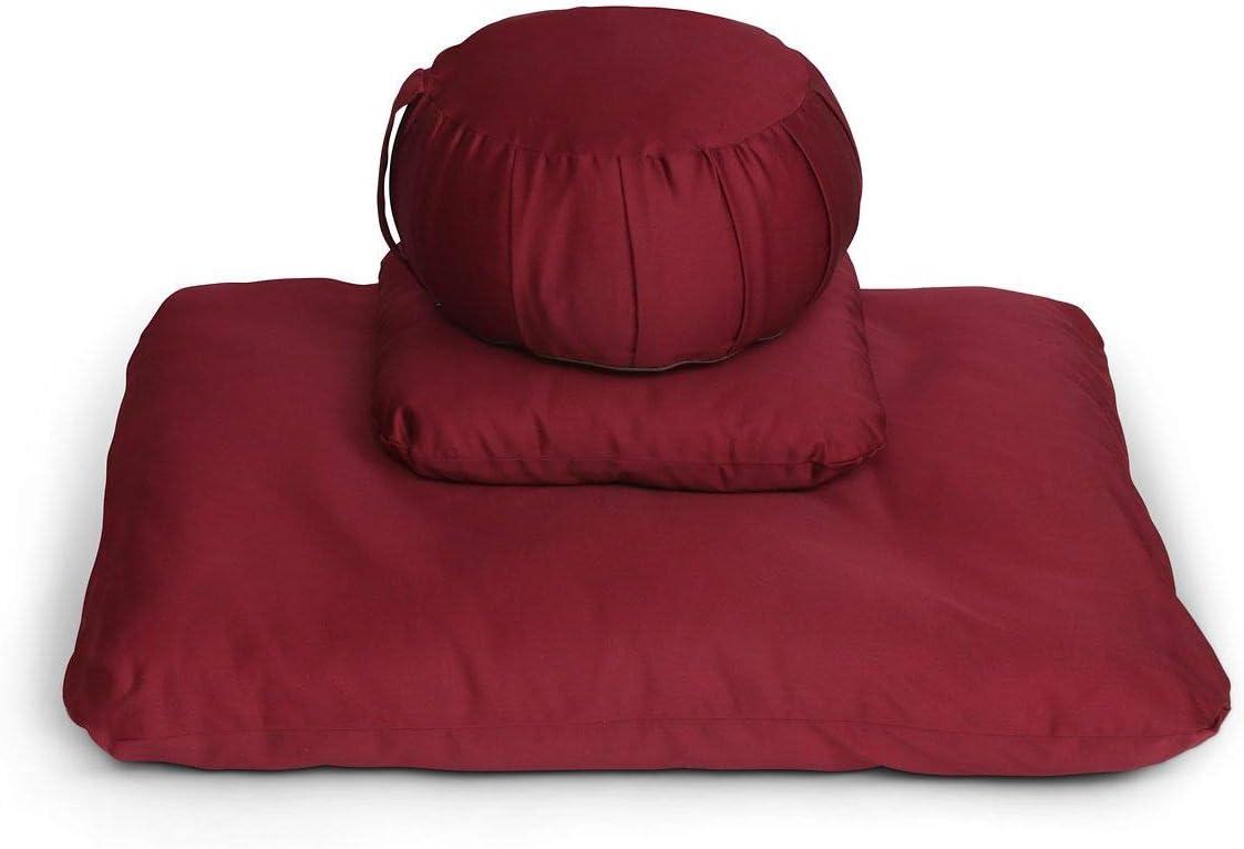 Samadhi Cushions Zafu Meditation Tulsa Mall Cushion Burgundy Deluxe Set 3 of