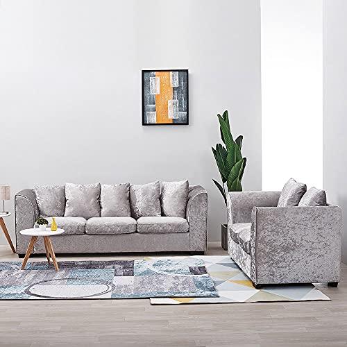 Panana 2 Seater Sofa + 3 Seater Sofa Corner Sofa Mordern Crushed Velvet Sofa Settee Couch Compact Sofa Living Room Home Office Lounge, Silver