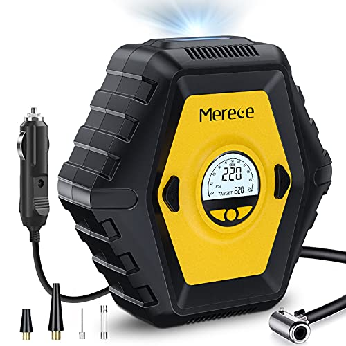 Merece Portable Air Compressor for Car Tires, DC 12V Tire Inflator Car Tire Pump with LED Light and 10 Ft Longer Power Cord, Auto Shut Off Digital Air Pump for Cars Bicycles and Other Inflatables
