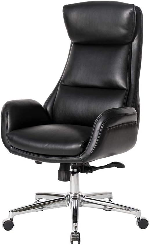 Glitzhome Modern Executive Home High-Back Office Chair Adjustable Swivel Desk Chair with Armrest, Black