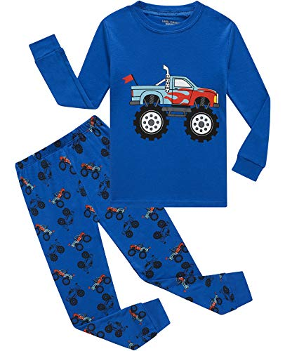 Image of Blue Long Sleeve Cotton Truck Pajamas for Boys - See More Prints