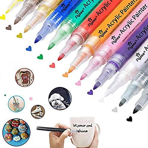 Aliyer Acrylstifte Marker Stifte, permanent Marker 12 Farben 0.7mm Strichstärke, ungiftig, zum Bemalen von Steinen, Keramik, Glas, Leinwand, Tassen, Holz und Ostereiern