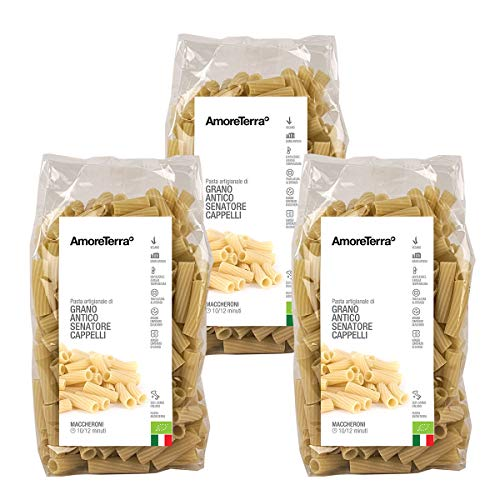 AmoreTerra (3 Pz.) Pasta artigianale Maccheroni biologica Senatore Cappelli 500g, pasta artigianale grani antichi bio trafilata al bronzo lenta essiccazione statica