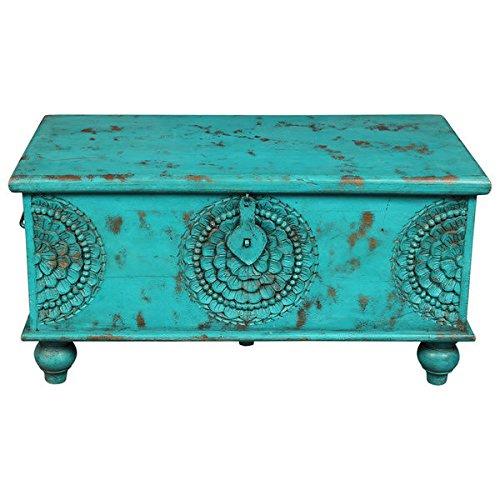 Hand Carved Teal Blue Storage Trunk Table