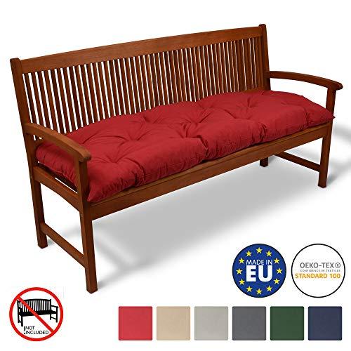 Beautissu Coussin pour Banc de Jardin Flair BK terrasse, Balcon - balancelle - Banquette - Assise Confortable - 150x50x10cm - Rouge
