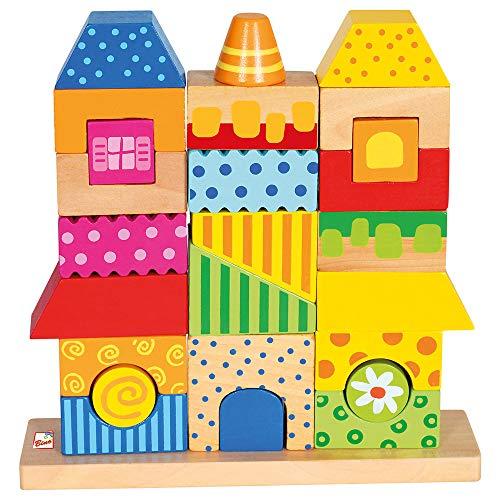 Bino & Mertens 84151 - Steckhaus. Formen- und Steckspiel, mehrfarbig, mit Unterlage aus Holz. Buntes Holz-Stapelspiel aus 26 unterschiedlichen Formen. Größe ca.22x5x22 cm.