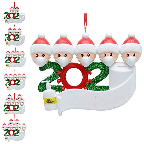 Baulanna Christmas Personalized Family Name Ornament Kit,Mini Christmas Tree Decorations Pendant for White Customized Name Survivor Family with Mask Hanging Set,Free Oil Pen (Family of 5)