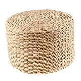 B Blesiya 12 Pulgadas Cojín De Piso Rústico Puf De Paja Asiento Meditación Otomana Decoración del Hogar - 30x30x20cm